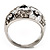Dome Shaped Crystal Flower Ring (Silver Tone) - view 11