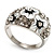 Dome Shaped Crystal Flower Ring (Silver Tone) - view 4