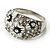Dome Shaped Crystal Flower Ring (Silver Tone) - view 12