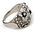 Dome Shaped Crystal Flower Ring (Silver Tone) - view 3