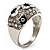 Dome Shaped Crystal Flower Ring (Silver Tone) - view 13