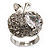 Clear Crystal CZ Apple Ring (Silver Tone)