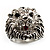 Statement Rhodium Plated Crystal 'Lion' Ring - view 9