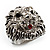 Statement Rhodium Plated Crystal 'Lion' Ring - view 11