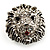 Statement Rhodium Plated Crystal 'Lion' Ring - view 7