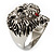 Statement Rhodium Plated Crystal 'Lion' Ring - view 6