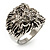 Statement Rhodium Plated Crystal 'Lion' Ring - view 12