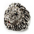 Statement Rhodium Plated Crystal 'Lion' Ring - view 2