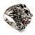 Statement Rhodium Plated Crystal 'Lion' Ring - view 8