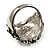 Statement Rhodium Plated Crystal 'Lion' Ring - view 5