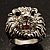 Statement Rhodium Plated Crystal 'Lion' Ring - view 13