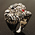 Statement Rhodium Plated Crystal 'Lion' Ring - view 4
