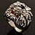Statement Rhodium Plated Crystal 'Lion' Ring - view 14