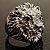 Statement Rhodium Plated Crystal 'Lion' Ring - view 3