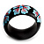 Black Wood Light Blue Floral Band Ring - view 2