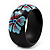 Black Wood Light Blue Floral Band Ring - view 3