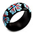 Black Wood Light Blue Floral Band Ring - view 5