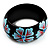 Black Wood Light Blue Floral Band Ring - view 6