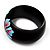 Black Wood Light Blue Floral Band Ring - view 7