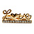 Gold Plated Double Finger Diamante 'Love' Ring - Size 7&8 - view 8