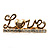 Gold Plated Double Finger Diamante 'Love' Ring - Size 7&8 - view 11