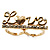 Gold Plated Double Finger Diamante 'Love' Ring - Size 7&8 - view 12