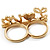Gold Plated Double Finger Diamante 'Love' Ring - Size 7&8 - view 14