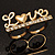 Gold Plated Double Finger Diamante 'Love' Ring - Size 7&8 - view 2