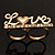Gold Plated Double Finger Diamante 'Love' Ring - Size 7&8 - view 15