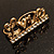 Gold Plated Double Finger Diamante 'Love' Ring - Size 7&8 - view 6