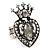 Burn Silver Crystal Crown & Heart Stretch Ring
