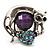 Burn Silver Purple Diamante Cat & Mouse Stretch Ring
