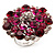 Silver Tone Fuchsia/ Pink Diamante Cocktail Ring