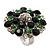 Silver Tone Grass/Emerald Green Diamante Cocktail Ring (Adjustable Size 7/8)