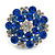 Silver Tone Sky/ Navy Blue Diamante Cocktail Ring (Adjustable Size 7/8) - view 3