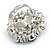 Silver Tone Sky/ Navy Blue Diamante Cocktail Ring (Adjustable Size 7/8) - view 5