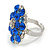 Silver Tone Sky/ Navy Blue Diamante Cocktail Ring (Adjustable Size 7/8) - view 4