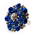 Silver Tone Sky/ Navy Blue Diamante Cocktail Ring (Adjustable Size 7/8) - view 11