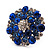 Silver Tone Sky/ Navy Blue Diamante Cocktail Ring (Adjustable Size 7/8) - view 12