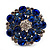 Silver Tone Sky/ Navy Blue Diamante Cocktail Ring (Adjustable Size 7/8) - view 8