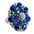 Silver Tone Sky/ Navy Blue Diamante Cocktail Ring (Adjustable Size 7/8) - view 6