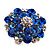 Silver Tone Sky/ Navy Blue Diamante Cocktail Ring (Adjustable Size 7/8) - view 9