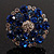 Silver Tone Sky/ Navy Blue Diamante Cocktail Ring (Adjustable Size 7/8) - view 14