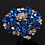 Silver Tone Sky/ Navy Blue Diamante Cocktail Ring (Adjustable Size 7/8) - view 7