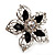 Silver Tone Filigree Black Diamante Flower Cocktail Ring - 5cm Diameter - view 2