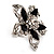 Silver Tone Filigree Black Diamante Flower Cocktail Ring - 5cm Diameter - view 8
