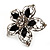 Silver Tone Filigree Black Diamante Flower Cocktail Ring - 5cm Diameter - view 9