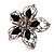 Silver Tone Filigree Black Diamante Flower Cocktail Ring - 5cm Diameter - view 6