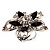 Silver Tone Filigree Black Diamante Flower Cocktail Ring - 5cm Diameter - view 10