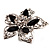 Silver Tone Filigree Black Diamante Flower Cocktail Ring - 5cm Diameter - view 7
